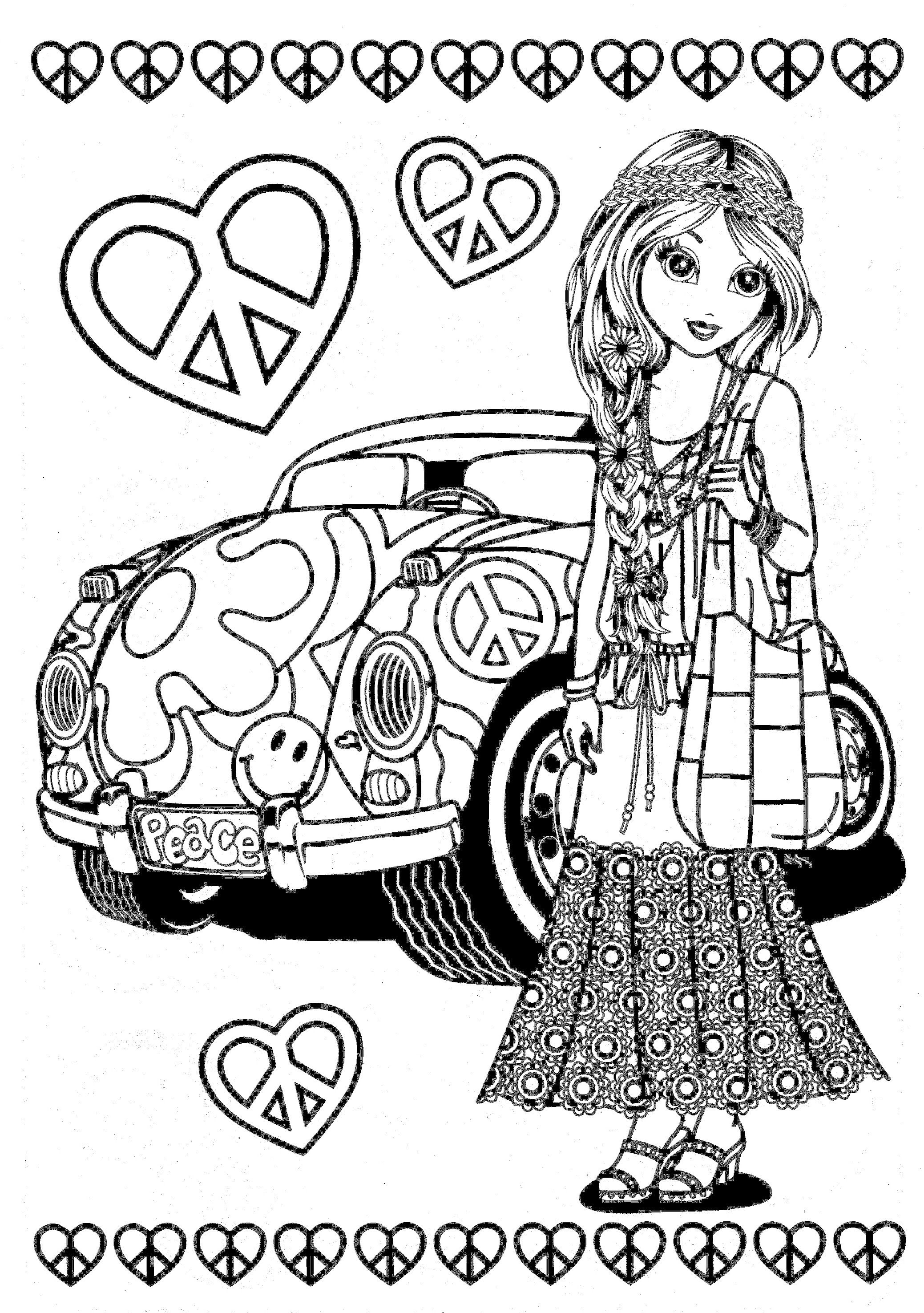 Pin On Hippie Art Peace Signs Coloring Pages For Adults