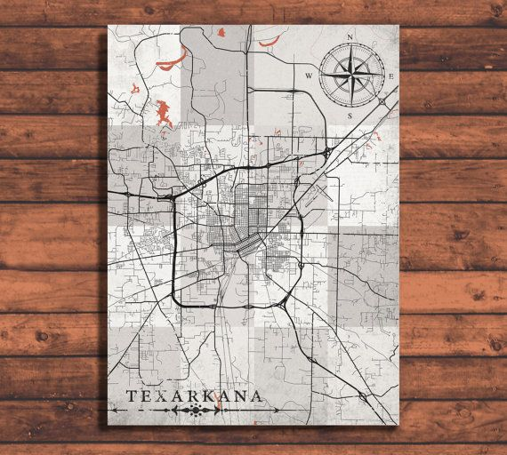 TEXARKANA Arkansas Vintage map Texarkana City Arkansas ...