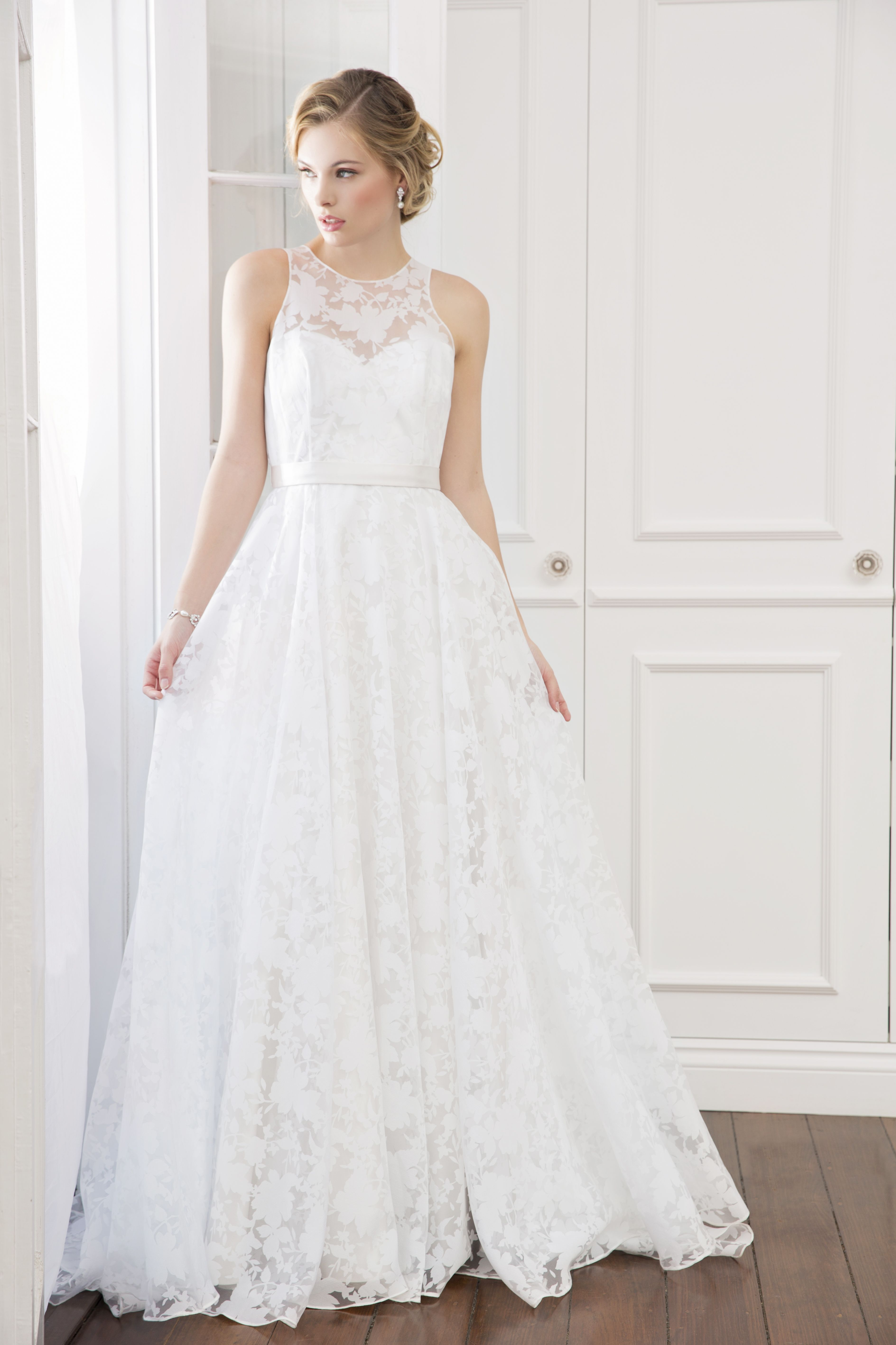 Lydia - Wendy Makin Bridal. floral lace/ high neck/ sweetheart/ ball ...