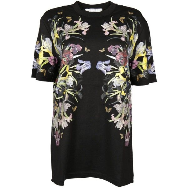 givenchy-floral-print-t-shirt (€566) ❤ liked on Polyvore featuring tops, t-shirts, black, floral print tops, sweater pullover, floral graphic tees, floral t shirt and short sleeve t shirts