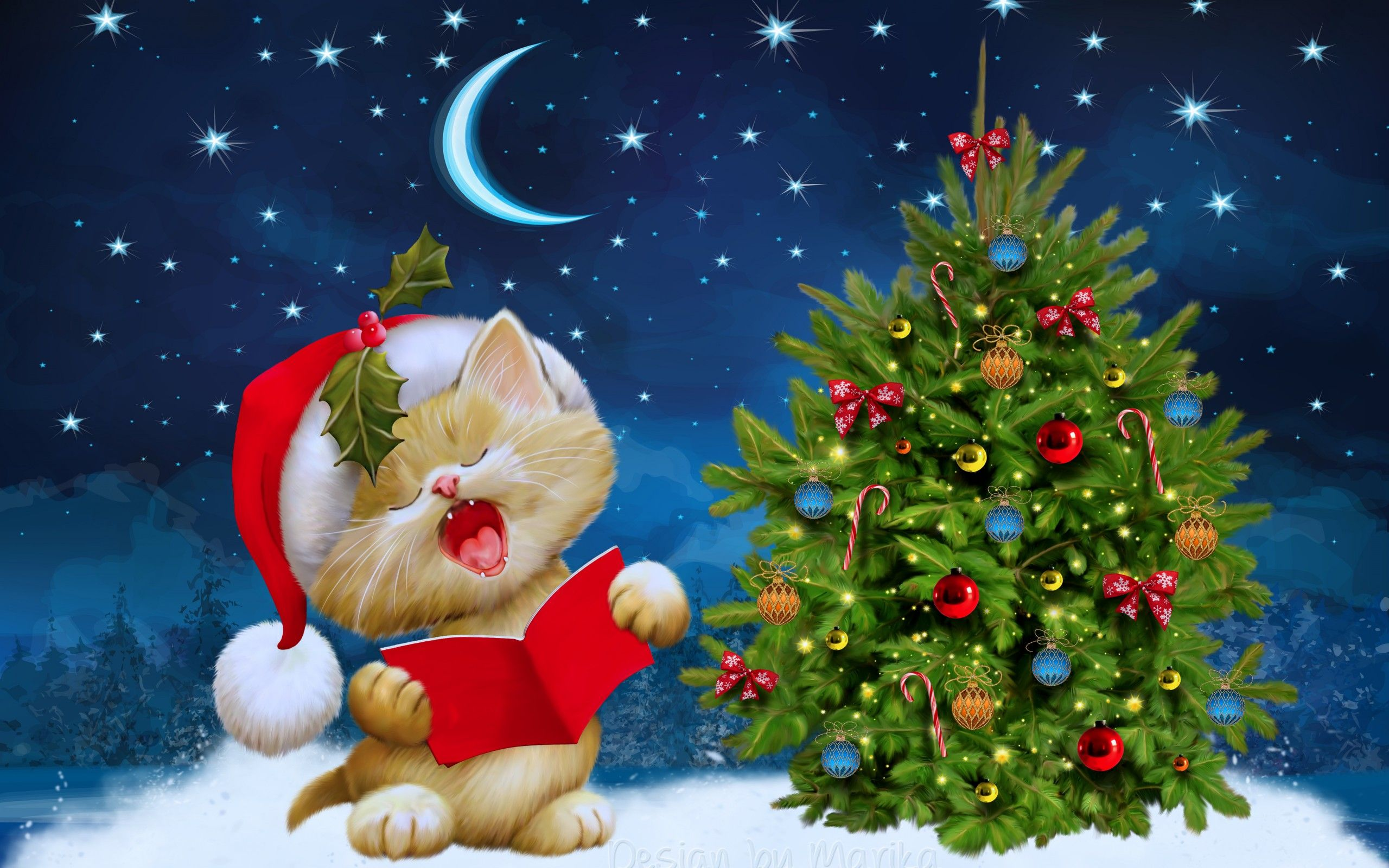 Merry Christmas Cute Cat And Tree HD Wallpaper For Day 2018 Cats Christmastree Merrychristmas Download