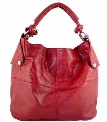 Etasico Amalia Leather Handbag Red Hobo