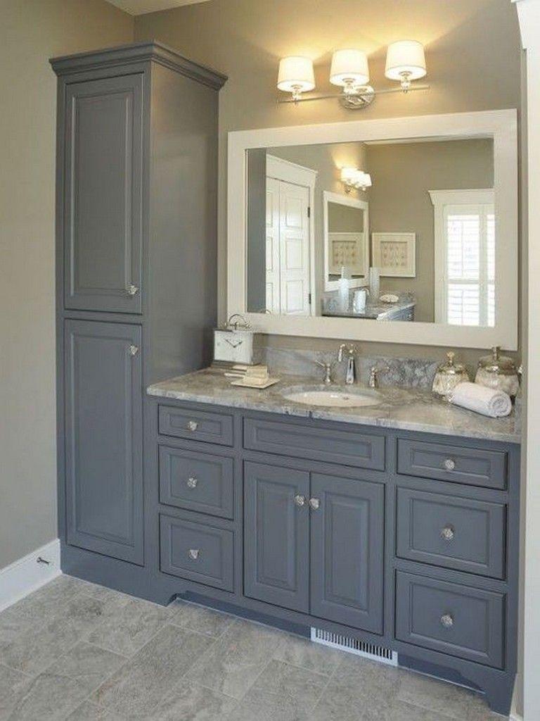25 Inspiring Traditional Tall Bathroom Cabinet Ideas To Try Bathroom Bathroomcabine Bathroom Vanity Storage Bathroom Remodel Master Farmhouse Master Bathroom