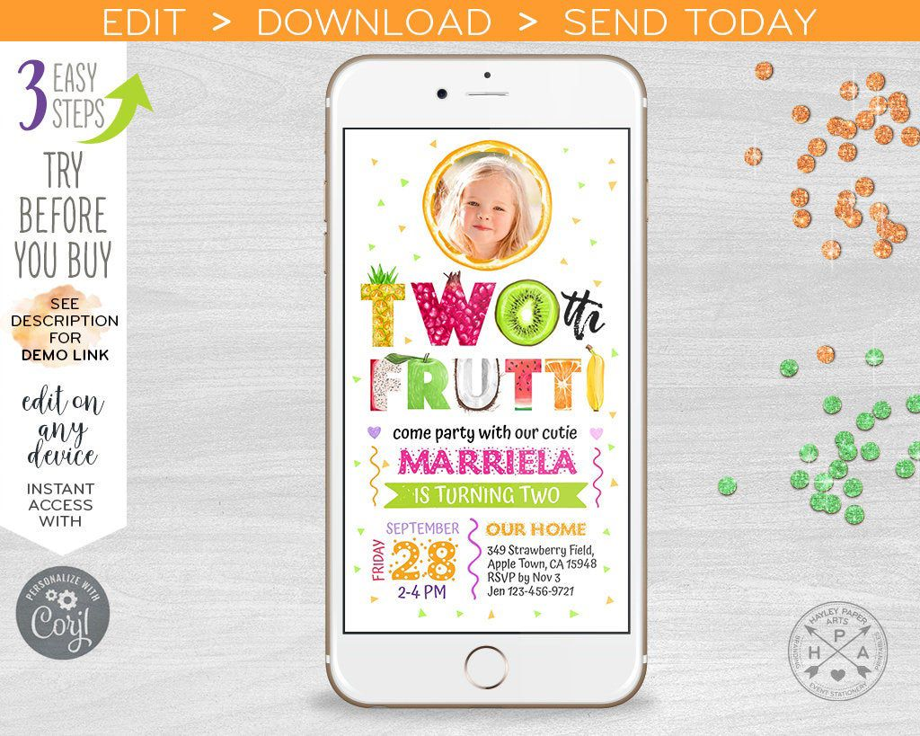 TWOtti frutti electronic second birthday tutti fruity two