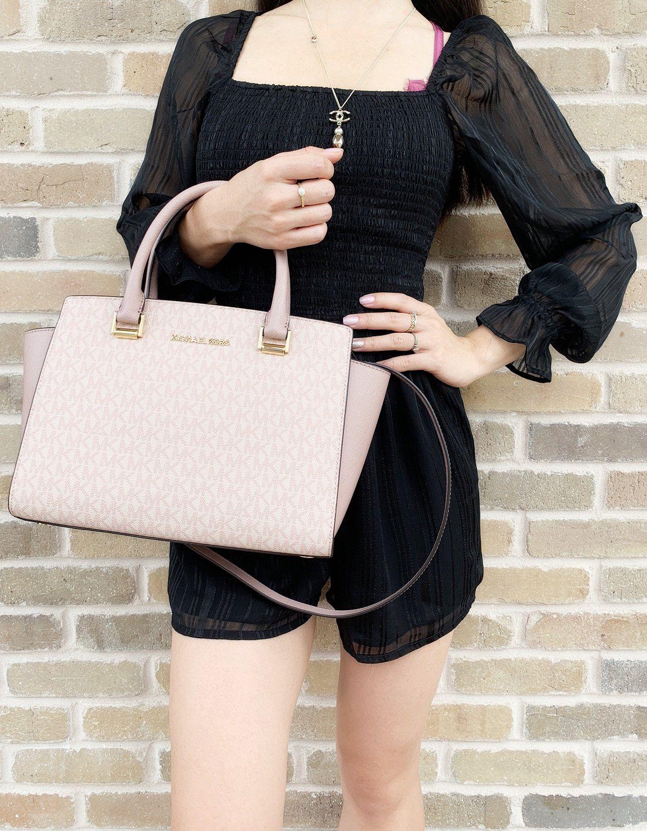 Michael Kors Handbag Selma Medium Satchel Pink Black