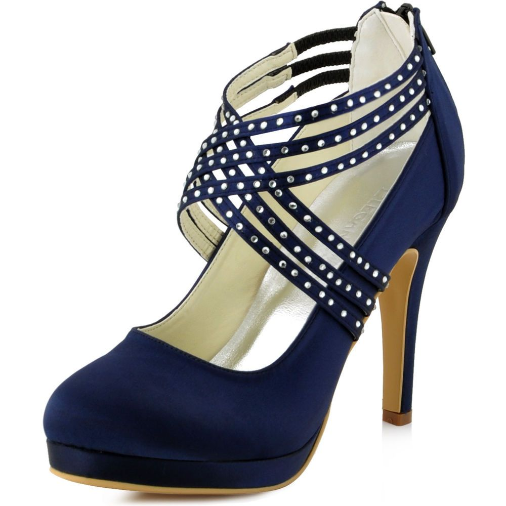 Ep11085 Pf Navy Blue High Heels Closed Toe Pumps Strap Satin Evening Party Shoes