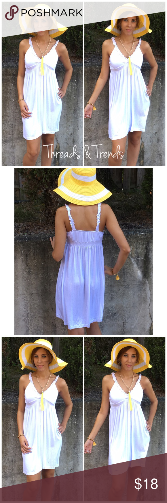 """Beach Tank Dress The perfect little white beach dress to match any swimsuit. Made of cotton and spandex. Size small. Bust 34"""", length 36"""" hat and accessories sold separately. Vintage Threads & Trends Swim Coverups"""