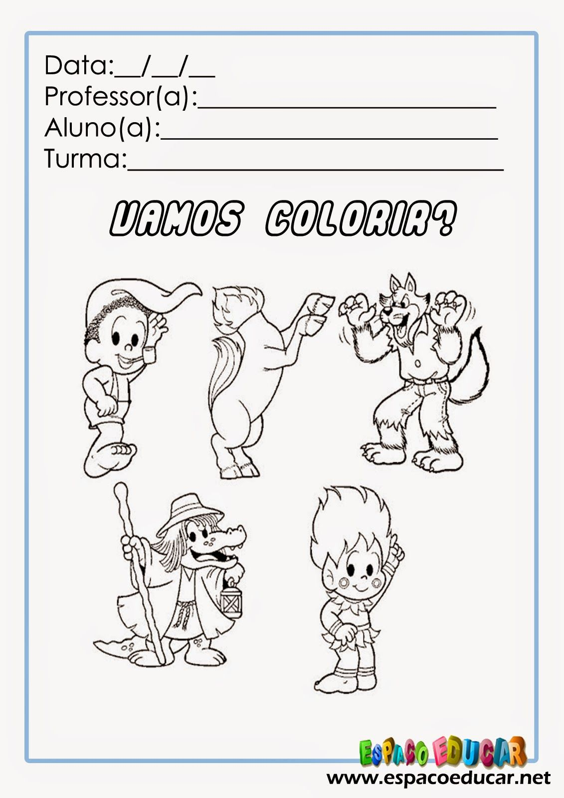 Desenhos Da Turma Da Monica No Folclore Para Colorir Livro De