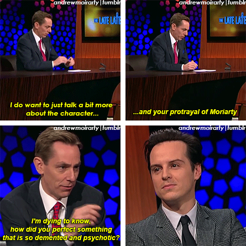 "Click through for GIF set. YOU CAN ACTUALLY SEE HIS EYES GLINT WHEN HE BECOMES MORIARTY. THE FRICK <<< DUDE! DON'T USE THE PHRASE ""I'M DYING"" TO A PSYCHOTIC KILLER! HE'LL TAKE YOU UP ON THAT!"