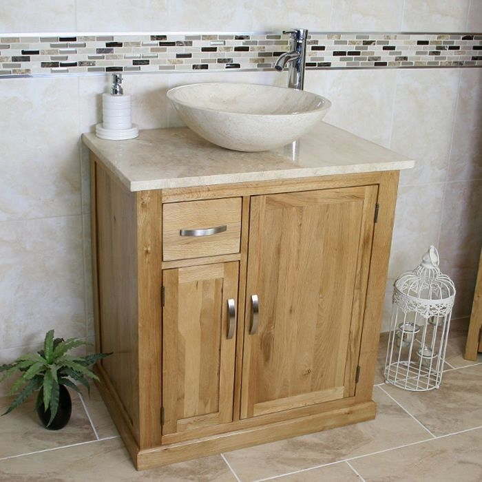 Bathroom Vanity Unit Free Standing Oak Cabinet Wash Stand Travertine Basin  503