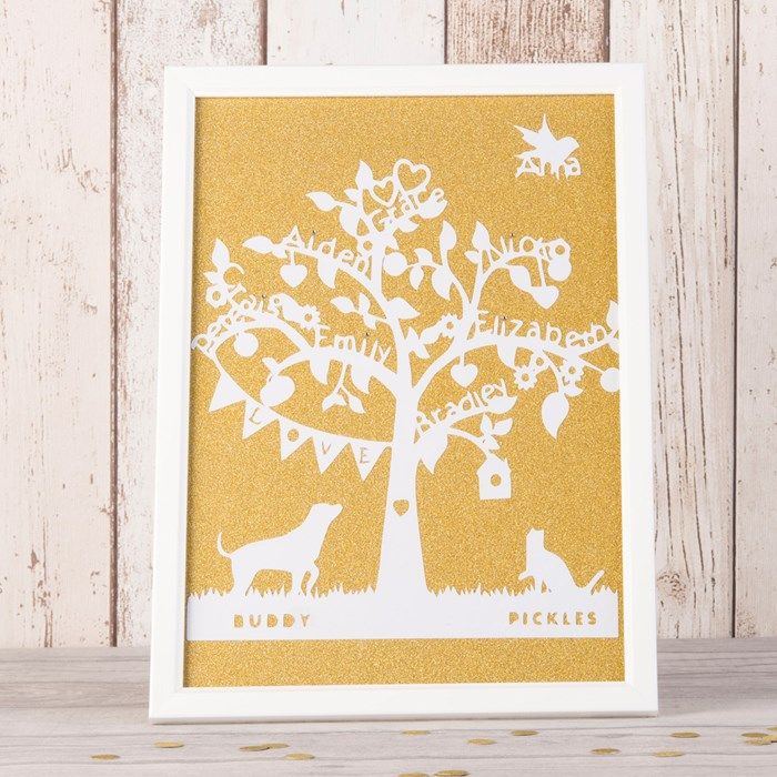 Our beautiful Family Tree Framed Papercut is lovingly handcrafted ...