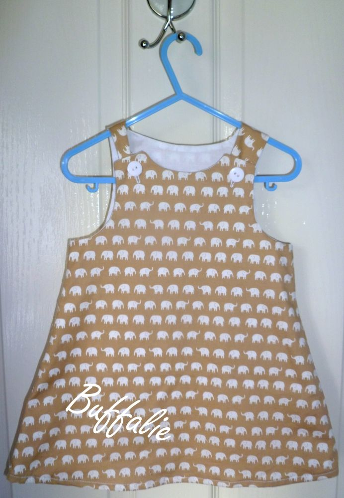 Beige elephant baby dress (Pinafore style) - The Supermums Craft Fair