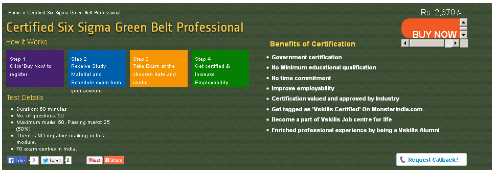 Vskills Certification For Six Sigma Green Belt Professional