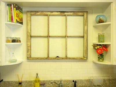 Will Have To Put A Fake Window Above My Kitchen Sink A Valance Between Cabinets And Hidden