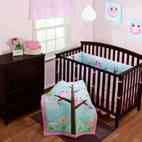 Delicados Buhos Owl Crib Bedding Baby Girl Nursery