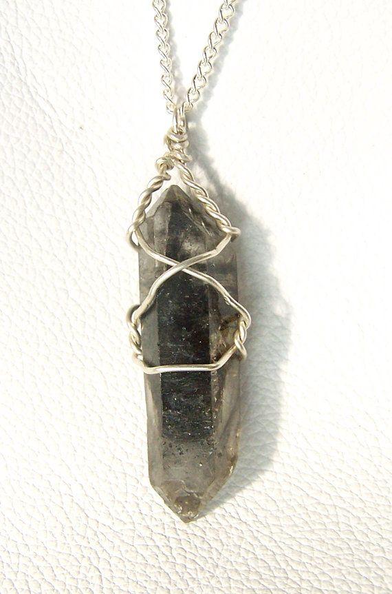raw crystal necklace Raw smoky quartz crystal wire wrap necklace handmade wire wrap jewelry smokey quartz point wire wrap raw crystal