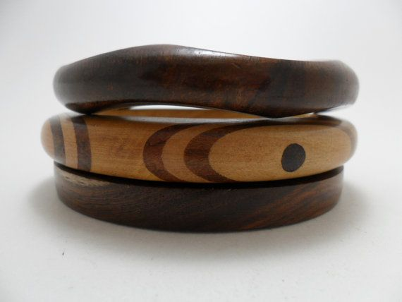 Vintage Bracelet / Bangles Wooden Set of 3 Art Deco by KathiJanes, $14.95