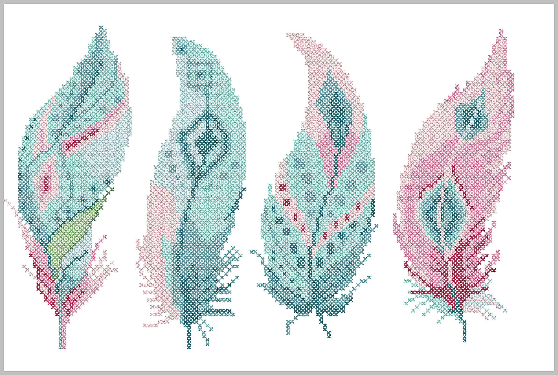 Bogo Free Feather Cross Stitch Pattern Tribal Boho Modern Feather