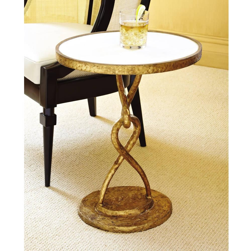 Loop De Loop Table Gold Global Views Domino Com Iron Table Modern End Tables White Marble Side Table