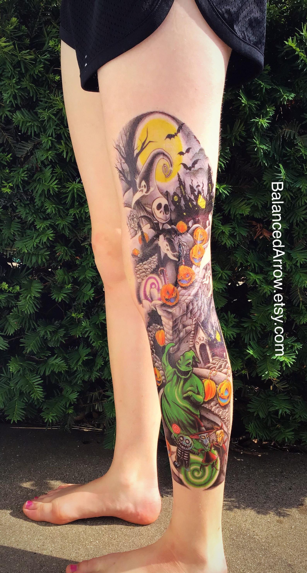Nightmare Before Christmas. Temporary Tattoo. Large