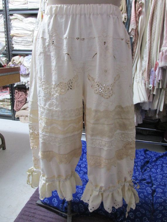 Vintage Kitty vanilla embroidered bloomers by sistersroseandruby    Here a plain pair of cotton trousers, shortened and embellished with lace trims and ruffles, transfigures into a romantic, vintage, bohemian fashion piece. **cheri**
