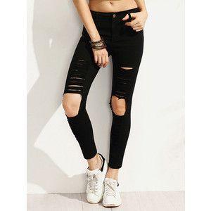SheIn(sheinside) Black Distressed Skinny Jeans