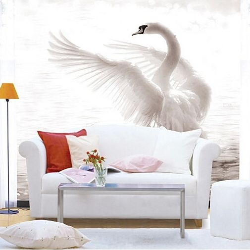 Wholesale Chinese Style Mural White Swan Goose 3D Wall Mural for