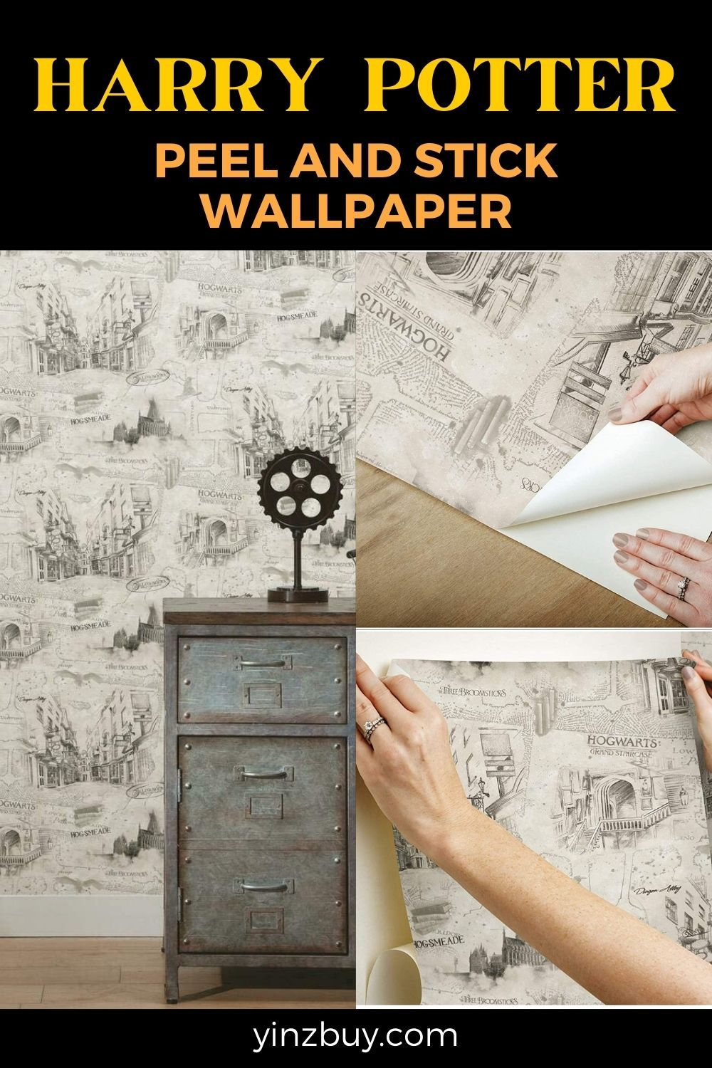 Roommates Peel And Stick Wallpaper Removable Harry Potter Decor Yinzbuy Peel And Stick Wallpaper Harry Potter Decor Temporary Wallpaper