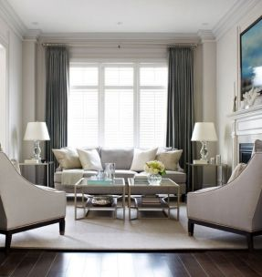 Gray curtains for tall front room google search for Neutral front room ideas