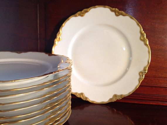 Hutschenreuther 12 Gold White Dinner Plates by TresconyAntiques & Reserved for N...Vintage Gold Rimmed White Dinner Plates Set of 12 ...