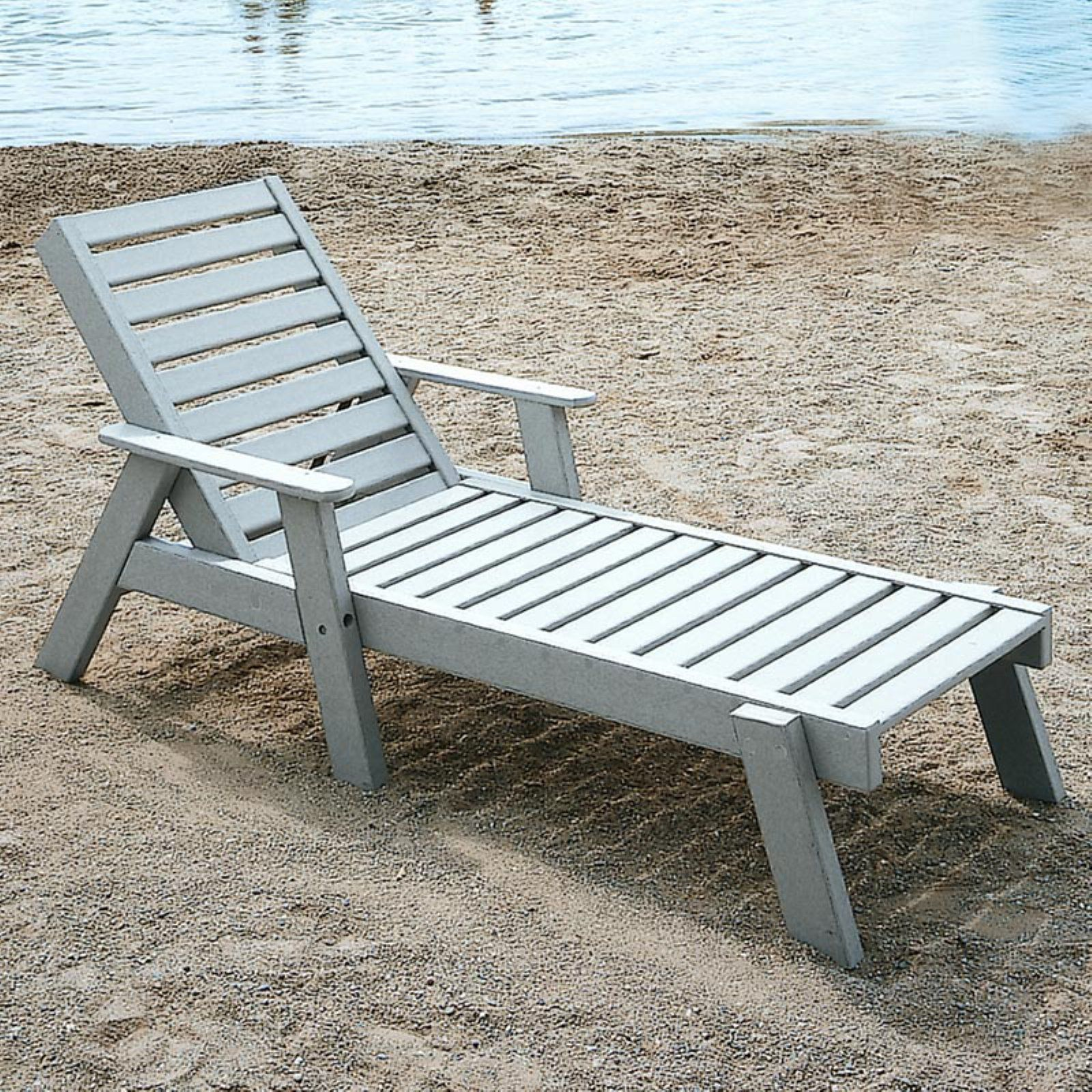 - Outdoor POLYWOOD Captain Recycled Plastic Chaise Lounge With Arms