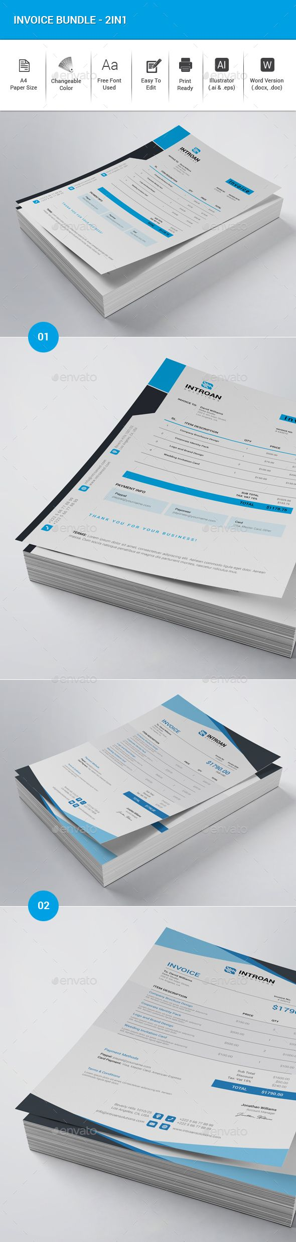 2 Invoice Templates Vector Eps Ai Illustrator Ms Word Very Easy