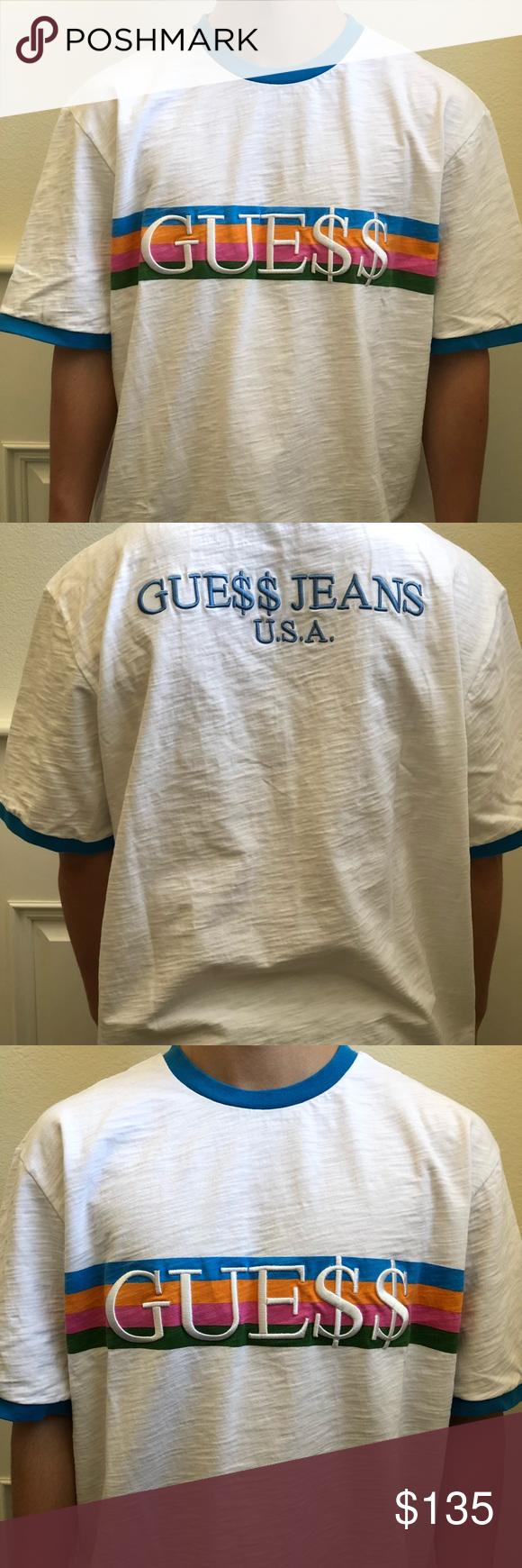 d65fe3336854 GUESS x ASAP Rocky Blue Ringer Tee Shirt XL GUE$$ x A$AP Rocky Blue Ringer  Tee Shirt Used 9/10. Ships fast Size: XL Guess Shirts Tees - Short Sleeve