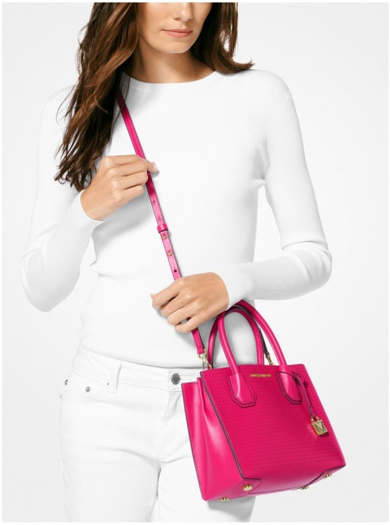 26471e5f7785 Online MICHAEL Michael Kors Mercer Perforated Leather Crossbody ULTRA PINK  Canada Cheapest Prices