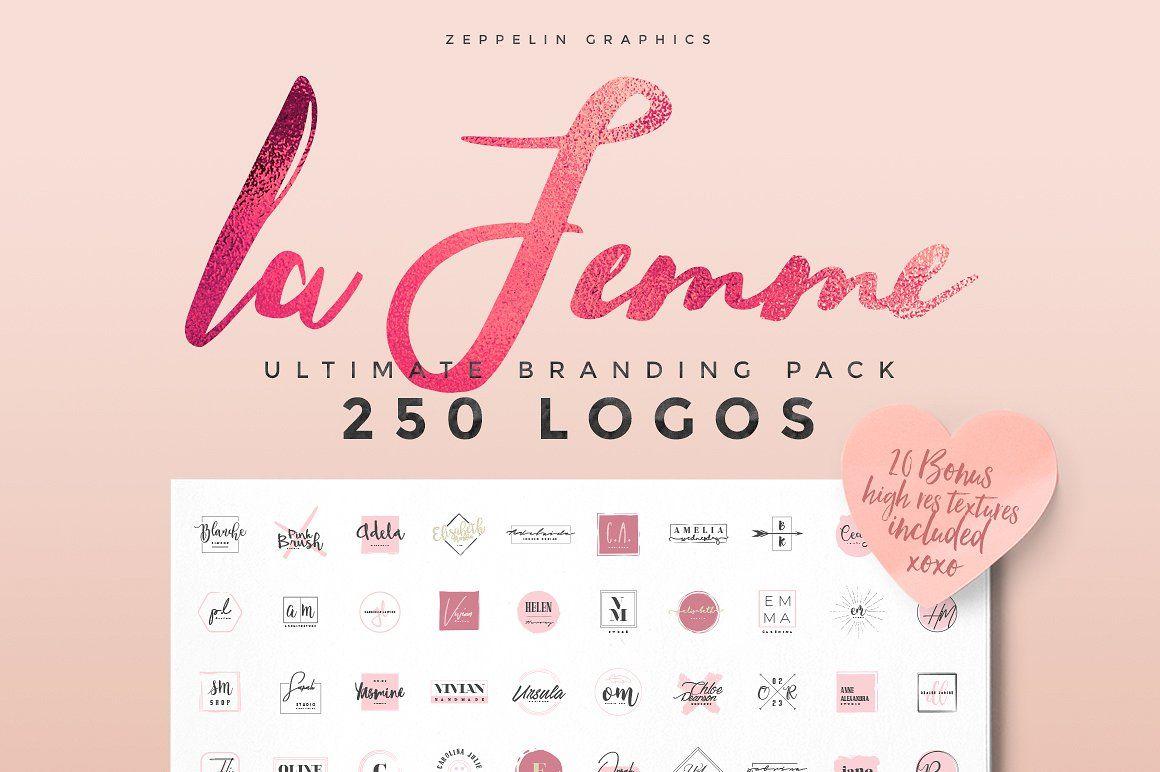 250 Feminine Logo Branding Pack by Zeppelin Graphics on @creativemarket