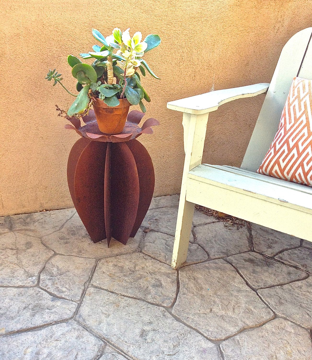 cactus side table, flower, metal yard art, southwestern decor