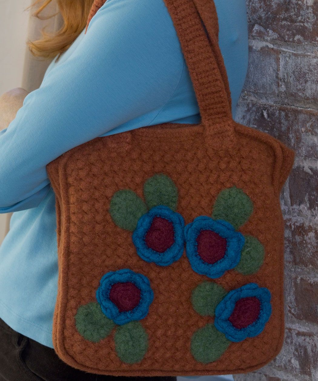Crochet Posied Felted Bag Red Heart Free Pattern
