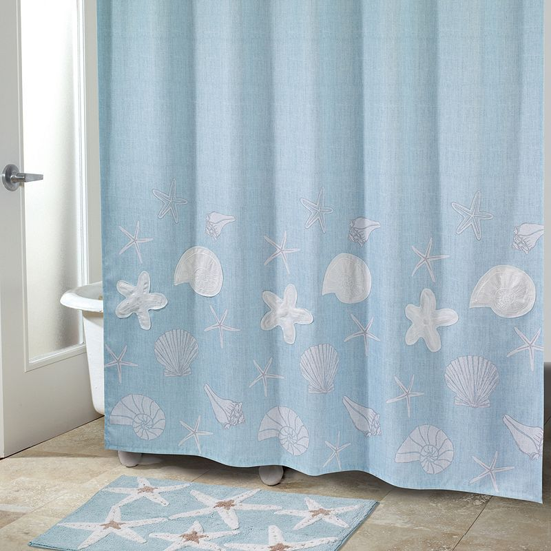 Sequin Shells Fabric Shower Curtain Fabric Shower Curtains
