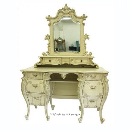 Fabulous rococo dressing table mirror ivory french for Modern baroque furniture