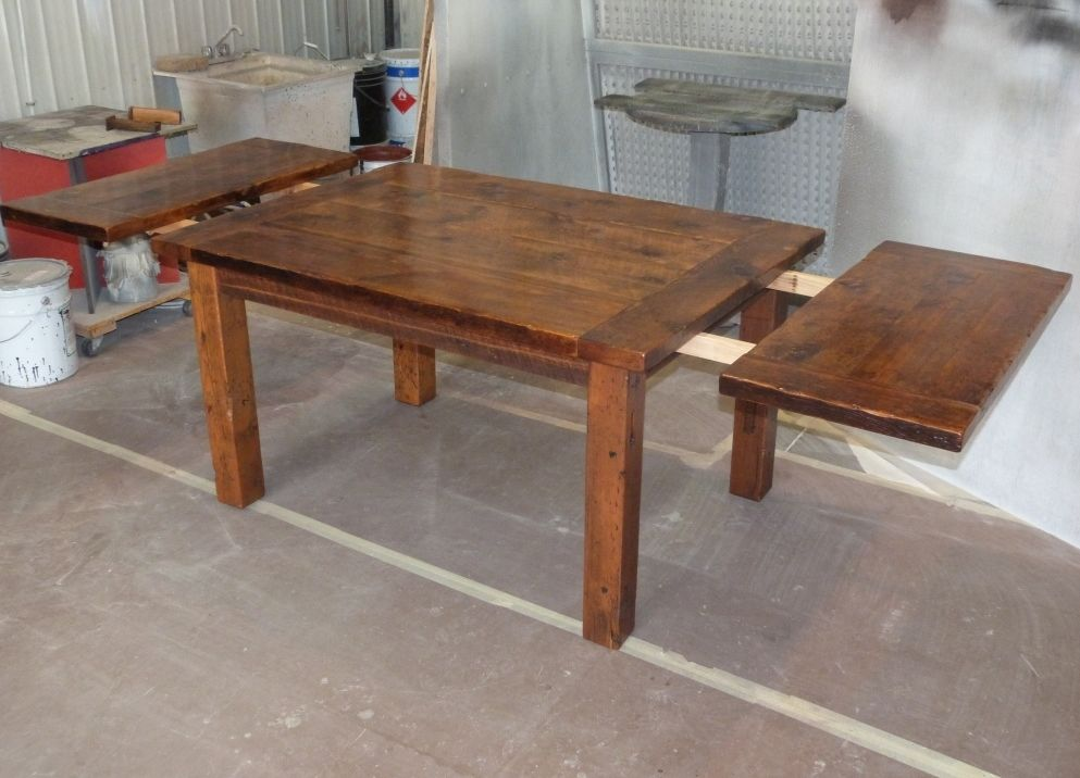 Harvest dining table reclaimed harvest table standard end for Wood dining room table with leaf
