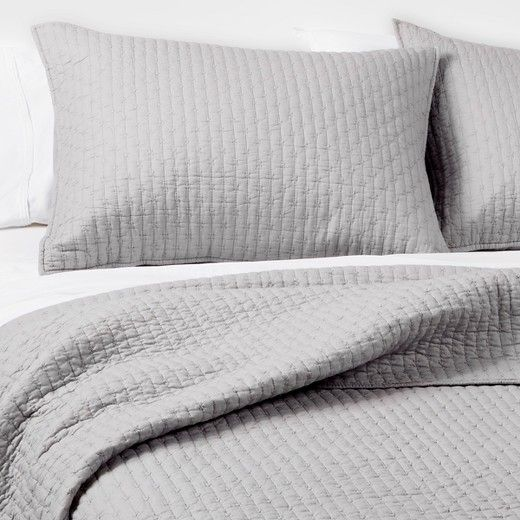 The Industrial Shop Solid Quilt Set keeps it simple. A solid color ... : solid color quilted pillow shams - Adamdwight.com