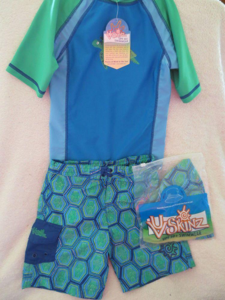 UV Skinz Toddler Boy Swimming Short Set UPF 50  Size 4T Blue/Green NWT #UVSkinz #Set