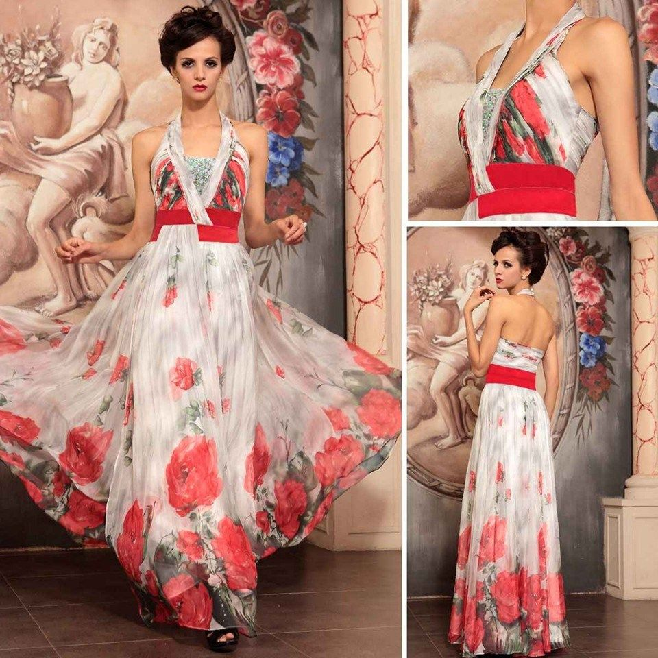The formal shop bridesmaid dress red u white floral