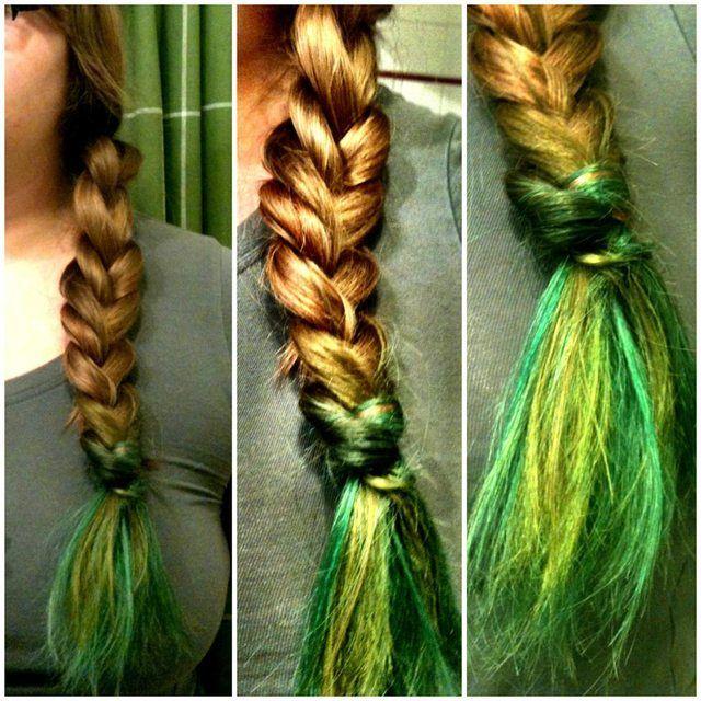 green kool aid dyed hair wisps