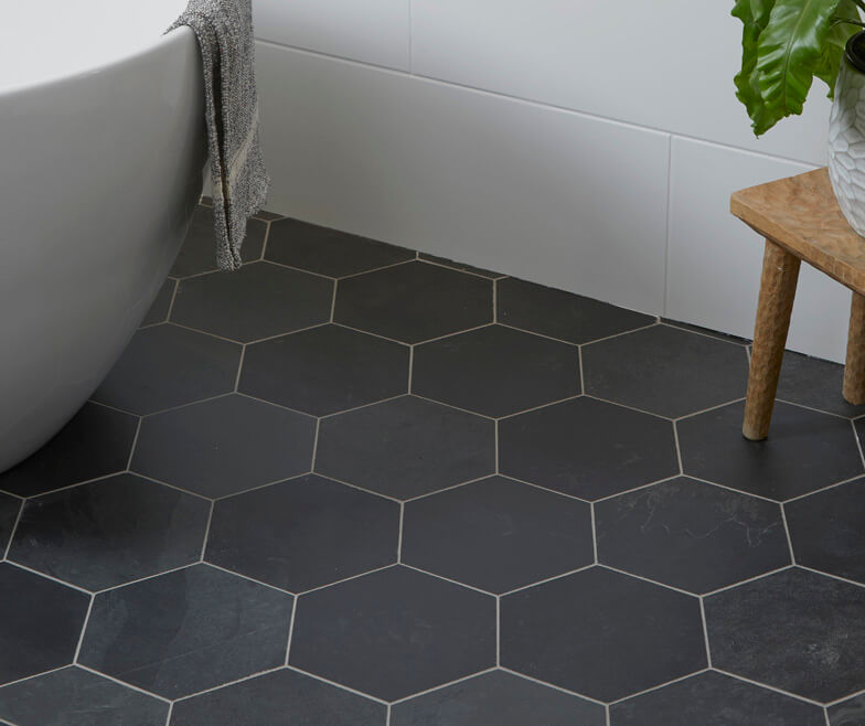 Black Hexagon Slate Floor And Wall Tiles With A Riven Finish By Ca Pietra Tilestyle Showroom Ballymount D In 2020 Hexagon Tiles Black Hexagon Tile Slate Tile Floor
