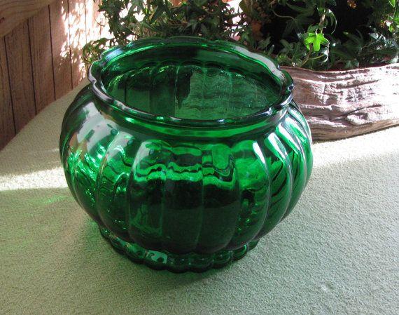 Vintage Emerald Green Planter Melon Style Glass Flower Vase A.L.R. ...