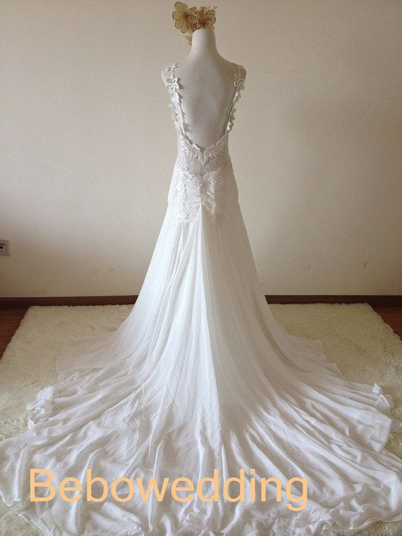 Ivory low back unique floral lace chiffon sexy low by Bebowedding, $339.00
