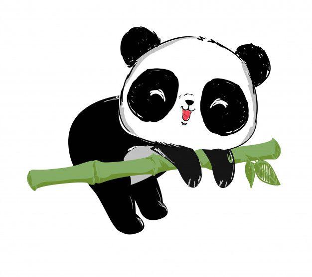 Painted Cute Panda Bear And Bamboo Illustration Panda Illustration Cute Panda Wallpaper Panda Images