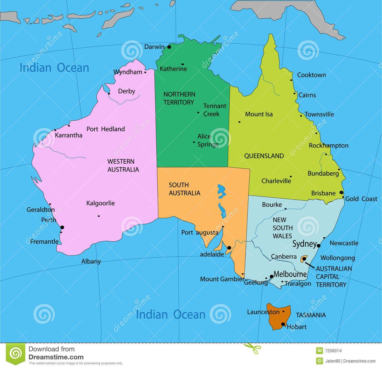 resultado de imagem para mapa politico da australia em portugues
