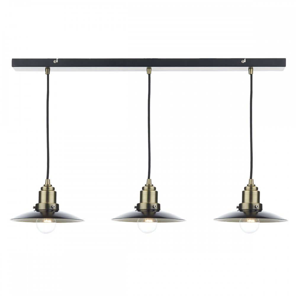 Dar HAN0354 Hannover 3 Light Pendant Antique Brass/Black